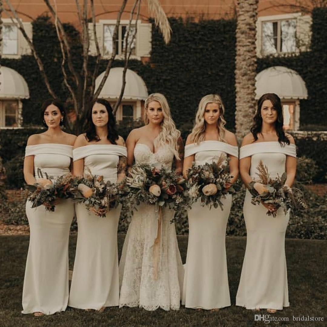 Country Champagne Mermaid Bridesmaids Dresses