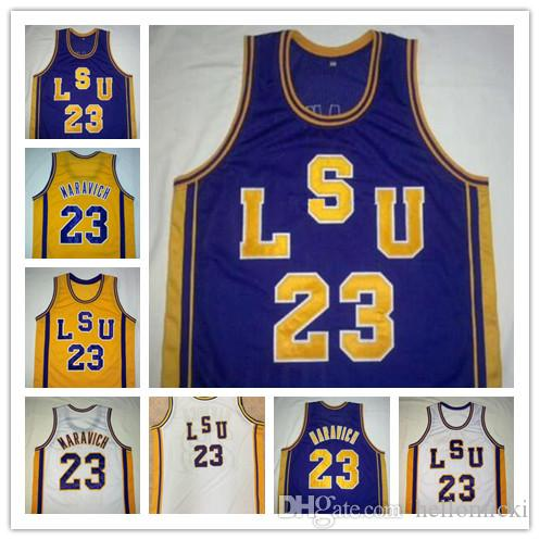 huge selection of bf032 3c8de NCAA #23 Pete Maravich LSU Tigers Vintage Jerseys Purple White Yellow Retro  College Basketball Stitched Men Kids Adult Youth size S-4XL