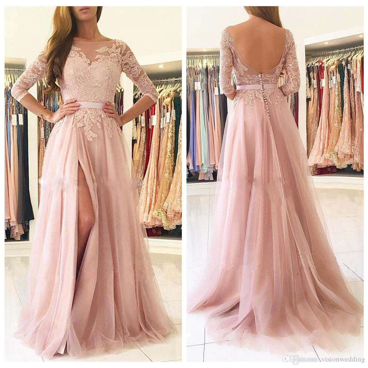 bcd078caf80 Prom Dresses 2019 Rose Pink Bateau Sheer 3 4 Illusion Long Sleeve Sashes  Floor Length Side Slit Party Cocktail Bridesmaid Dress Evening Gown Prom  Dress ...