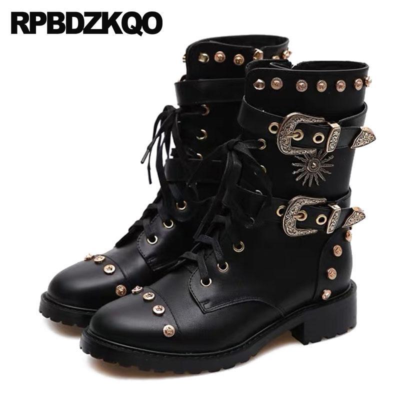 de60aa03b98db handmade shoes big size biker black motorcycle luxury belts punk rock boots  lace up round toe mid calf chunky metal rivet stud