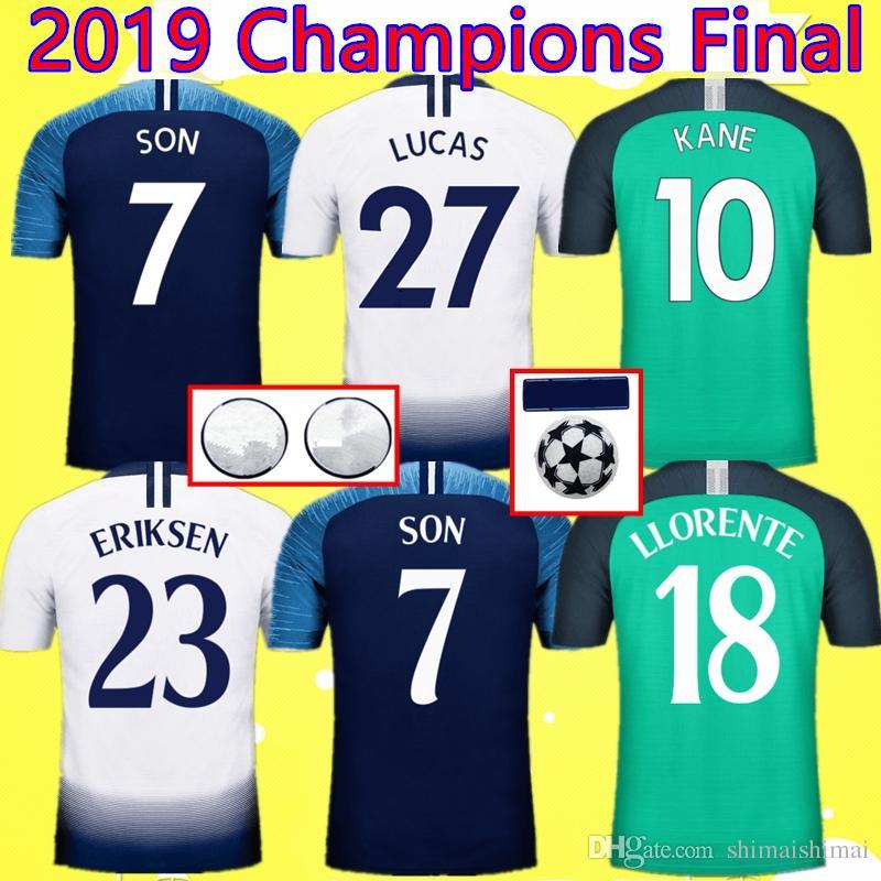 02a4ae9a4 2019 2019 Champions Final Wanda Metropolitano Madrid LUCAS SON KANE Soccer  Jersey 2018 LLORENTE LAMELA Maillot ERIKSEN Camiseta DELE 18 19 Shirt From  ...