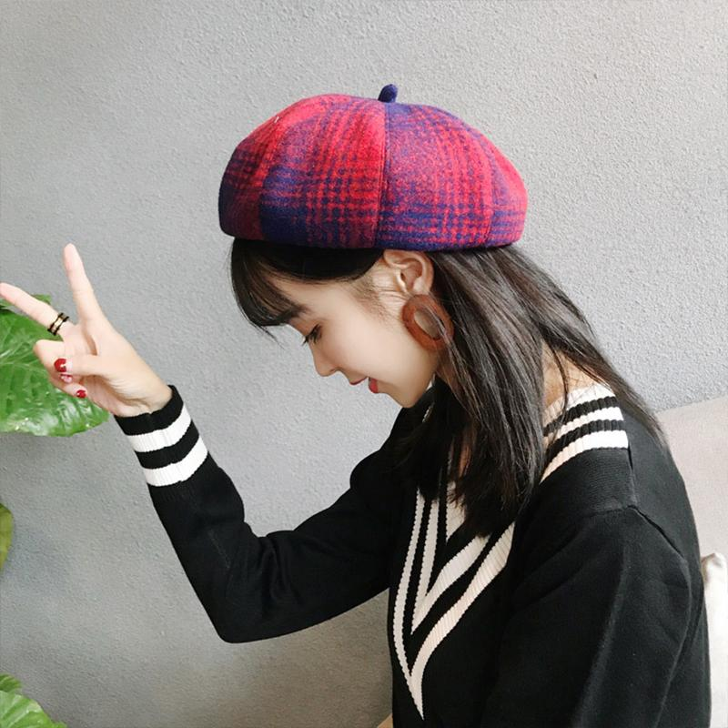 a11f3d569e9 Berets Lady Spring And Autumn Winter Decorative Plaid Painter Hat ...