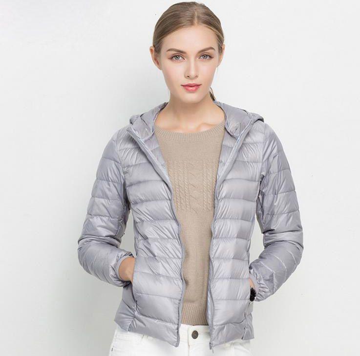 f48446f93 Winter Women Ultra Light Down Jacket White Duck Down Hooded Jackets ...