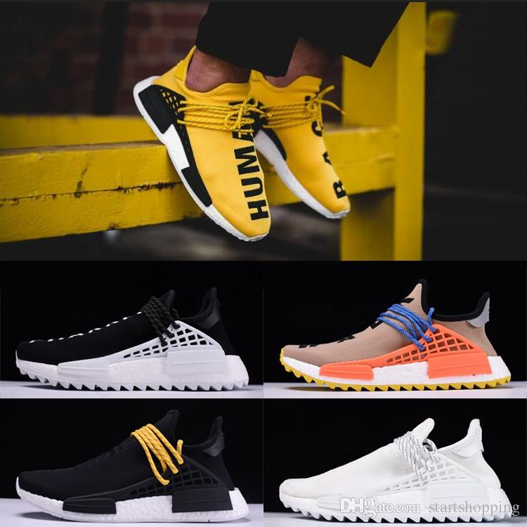 NMD Human Race Mens Women Trail Running Shoes Pharrell Williams Hu Runner Yellow Core Black Sport Designer Shoes Women Sneakers With Box