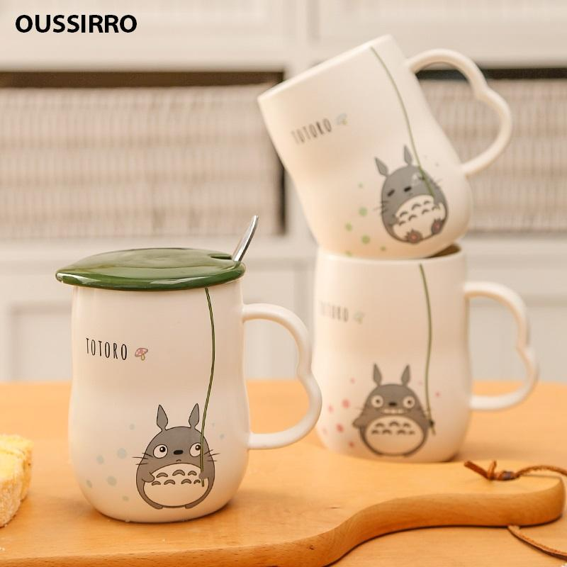 NEW 280ml Hand Make Ceramics Mugs With Spoon and Cover Totoro Cartoon Theme  Milk Mugs Cup Kitchen Tools