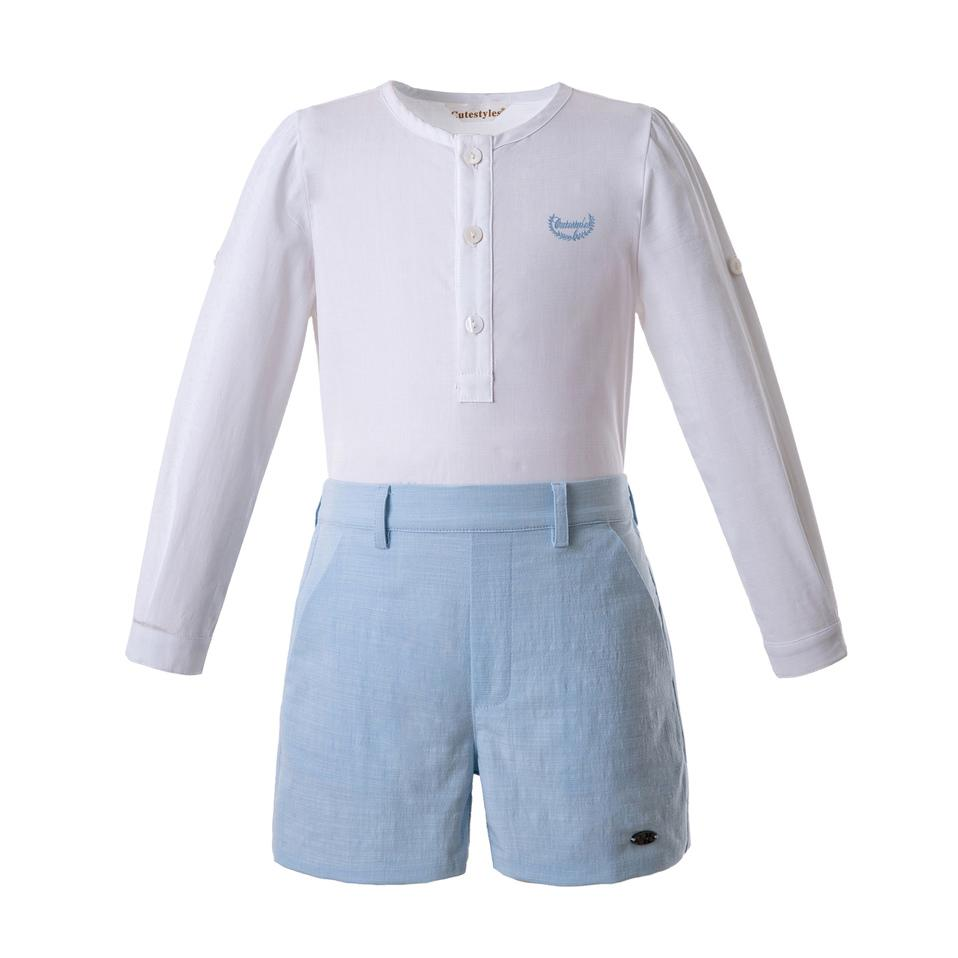 Pettigirl New Boys Clothes Sets White Shirt And Blue Shorts Cotton Kids Designer Clothes Boys B-DMCS201-C145