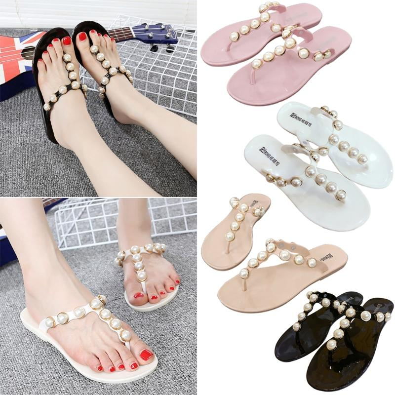 f82eeba0dad27b KLV 37 38 39 Size Women Shoes Flip Flops Faux Pearl Glitter Summer Bohemian  Style Beach PVC Sandals Wedge Heels Pink Shoes From Aiyin