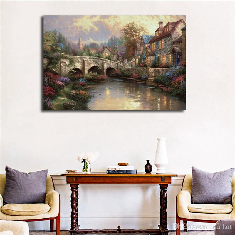 Thomas Kinkade Cobblestone Bridge Painting Art Canvas Poster Painting Wall Picture Print For Modern Home Bedroom Decoration Framework HD