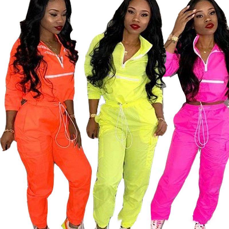 91078e14702a 2019 Women Patchwork Tracksuits Cardigan Pants Autumn Winter Zipper ...