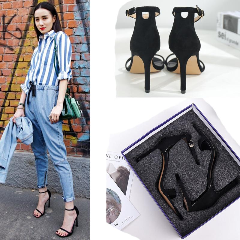 Wed2019 Buckle One Bring Sandals Woman Fine With Exposed Toe Side Air Small Fresh High-heeled Shoes Girl Evening Show Shoe