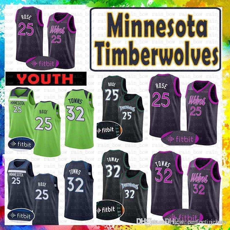 the latest b58b9 6785a 25 Derrick # Rose Minnesota Jersey 2019 nEW Timberwolves 32 Karl-Anthony #  Towns Basketball Jerseys retro MENS Youth Kid s