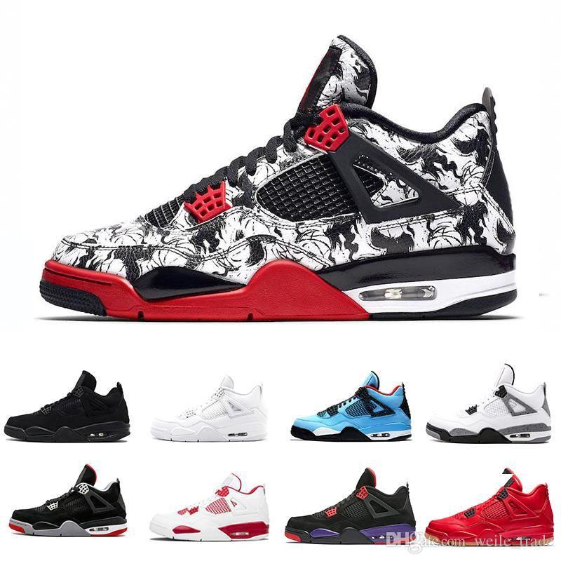 san francisco 5a363 0b7ea Acheter Nike Air Jordan Retro Retros 2019 Tattoo 4 Singles Day 4s  Chaussures De Basketball Pour Homme Pureté De L argent Blanc Ciment White  Raptors Baskets ...
