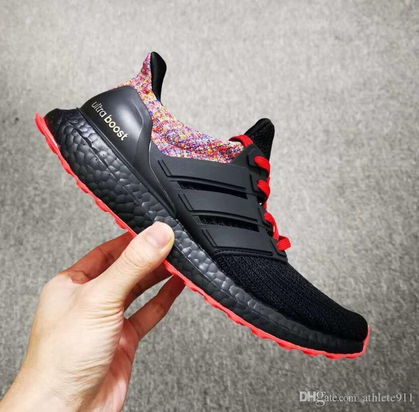 sale retailer bcd70 2cafe Ultra Boost 4.0 Running Shoes Show Your Stripes Breast Cancer Awareness CNY  Black Multi Color Men Womens Real Boost Sneakers Size 36-45
