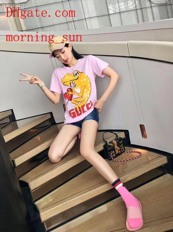2019 fashion women brand t Shirt pink animal print loose cotton new t-shirt casual Tee shirts femme top quality summer women clothes BC-27
