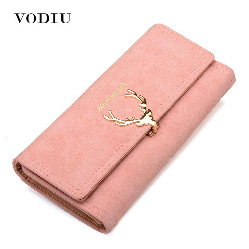 Women Wallet Card Wallet Female Purse Leather Trifold Long Coin Holder Phone Wallet Metal Christmas Deer Cash Pocket Fashion