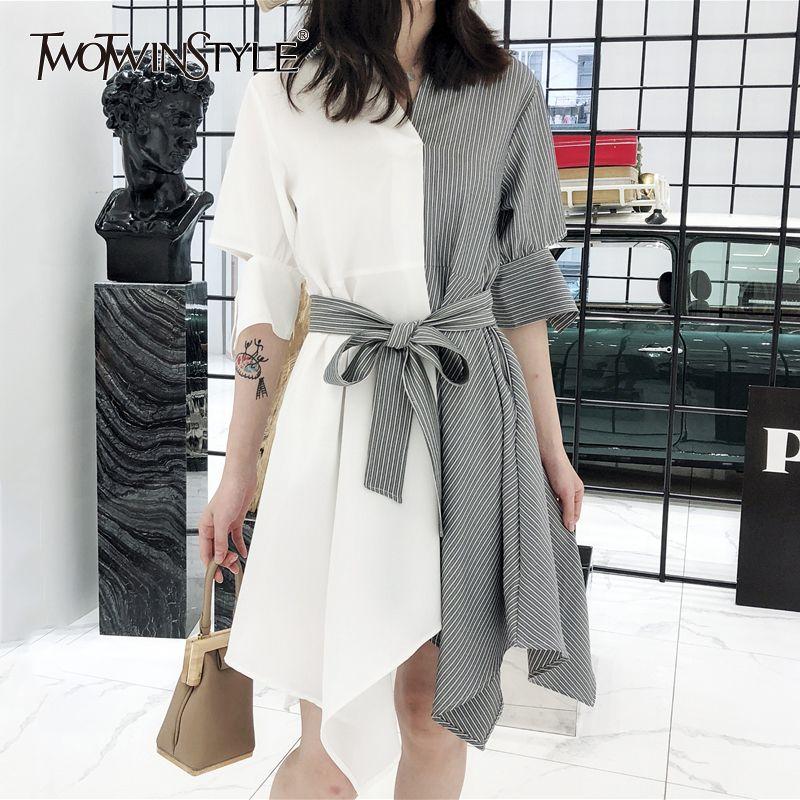82e132aa4d2dc Twotwinstyle Shirt Dress Female Striped Patchwork V Neck Belt High Waist  Irregular Midi Dresses 2018 Summer Korean New Clothing J190430