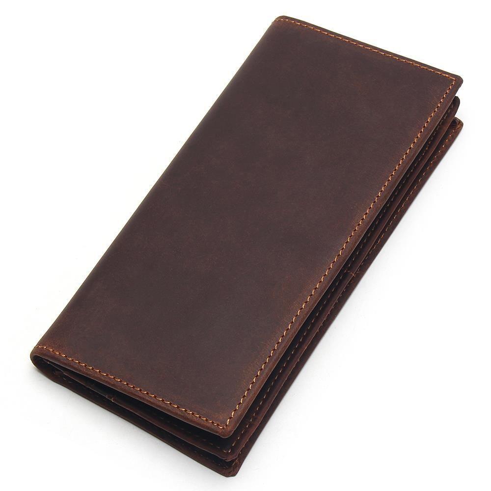 fddf7943dcd0e Satın Al Erkek Uzun Çılgın At Deri Cüzdan Erkekler Hakiki Deri Cüzdan  Debriyaj Vintage Erkek Çanta Deri Çanta Cüzdan, $44.11   DHgate.Com'da