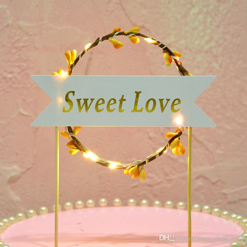 Happy Birthday LED Cake Flags Luminous Rattan Wreath Cup Cake Topper Glowing In The Dark Decoration Supplies H4284