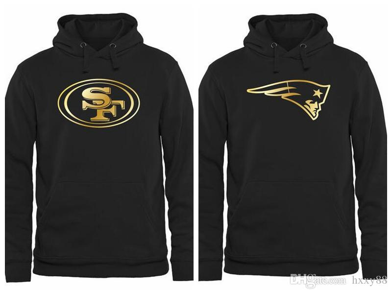 new products ce2f4 1128b Men's New Patriots San Francisco 49ers Pro Line Black Gold Collection  Pullover Hoodie
