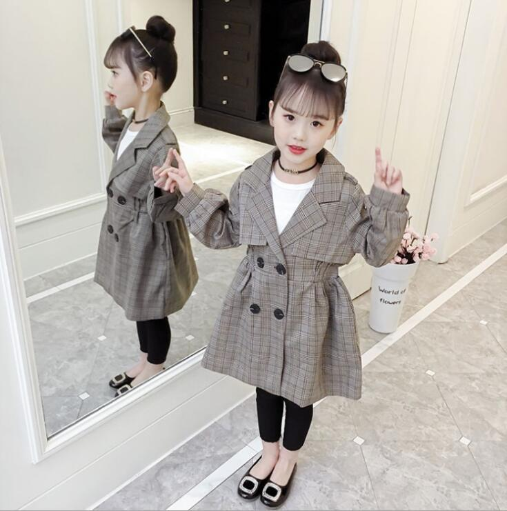 f2df23824 FR174 Girl Long Coat Double Breasted Fashion Coat Age 4 6 8 10 12 ...