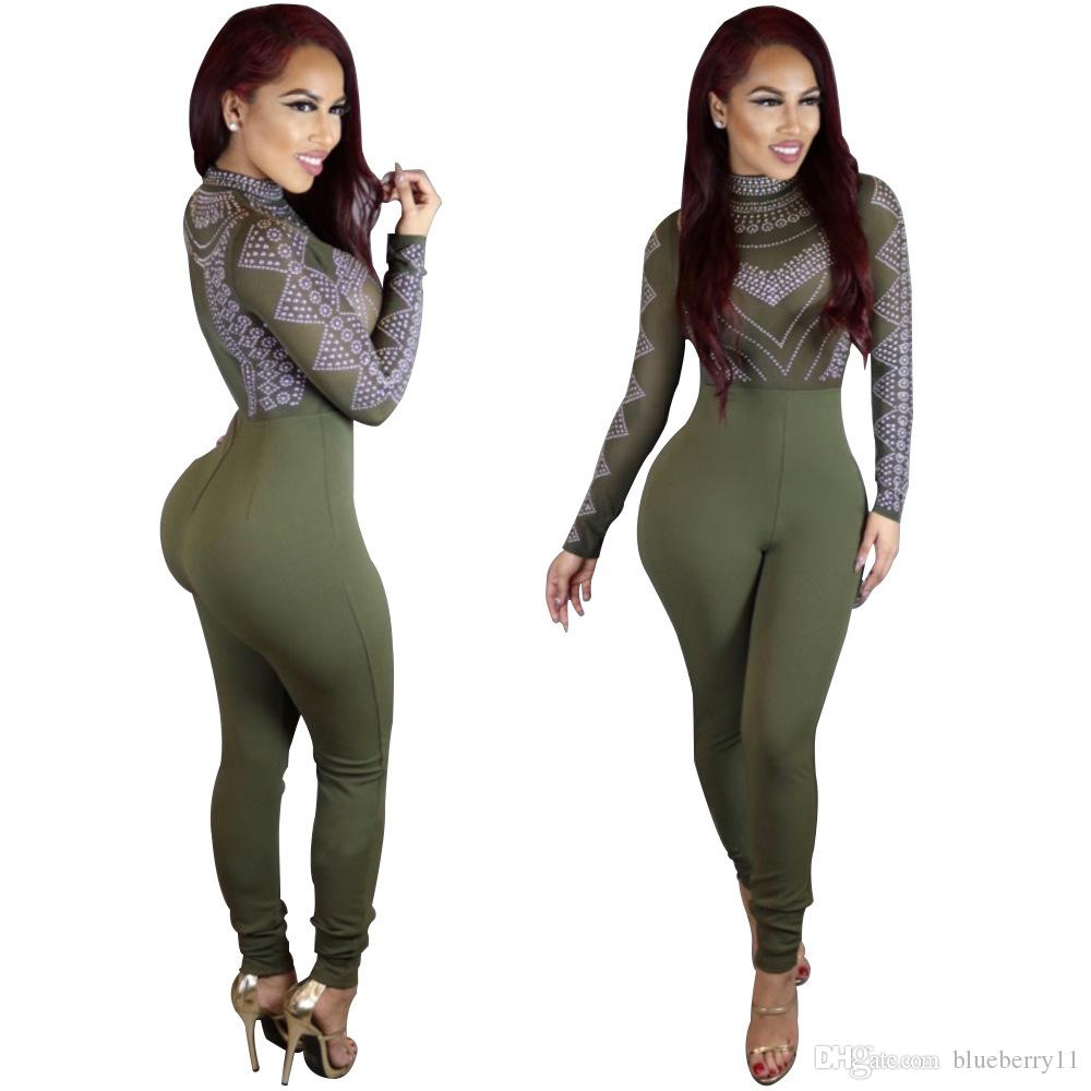 bca830e1ce7 2019 Bodysuit Women Jumpsuit Outfits Sexy Jumpsuits Rompers Long Sleeve  Sleeve Black Green Skinny Jumpsuit Size S XL From Blueberry11