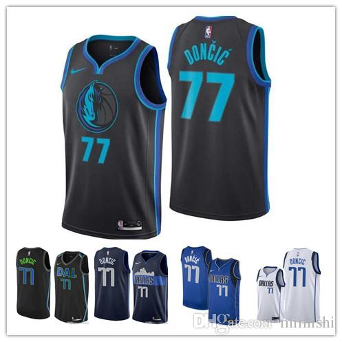 hot sale online 9af33 de306 2019 77 Doncic Mavericks Jersey The City Dallas 1 Smiths 77 Doncic 41  Nowitzkis ball Jersey NEW