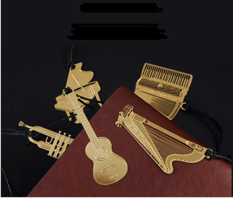 Bookmark Metal Wedding Favor Baby Birthday Return Gifts Golden Violin Gold Piano Student Music Bookmarks For Books Party Boys Kids