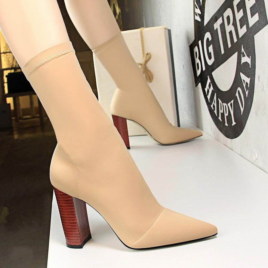 d2d33618cc43d Dress European And American Fashion Simple Wood Grain With Thick With High  Heel Pointed Elastic Lycra Sexy Nightclub Slim Boots Cheap Shoes For Women  Brown ...