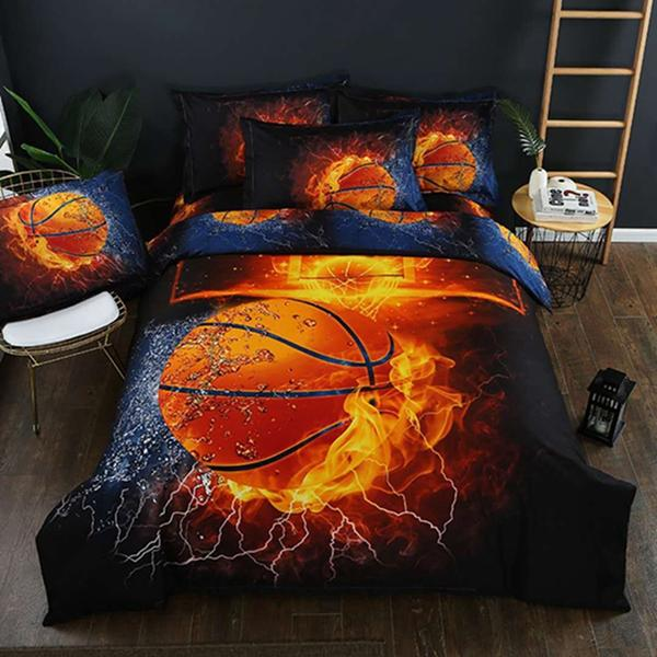 Personality Bedding Sets Duvet Cover Set 2/3/4pcs Fire Basketball 3d Print Quilt Sheets Pillowcase Bedding Linens Twin Double Queen King