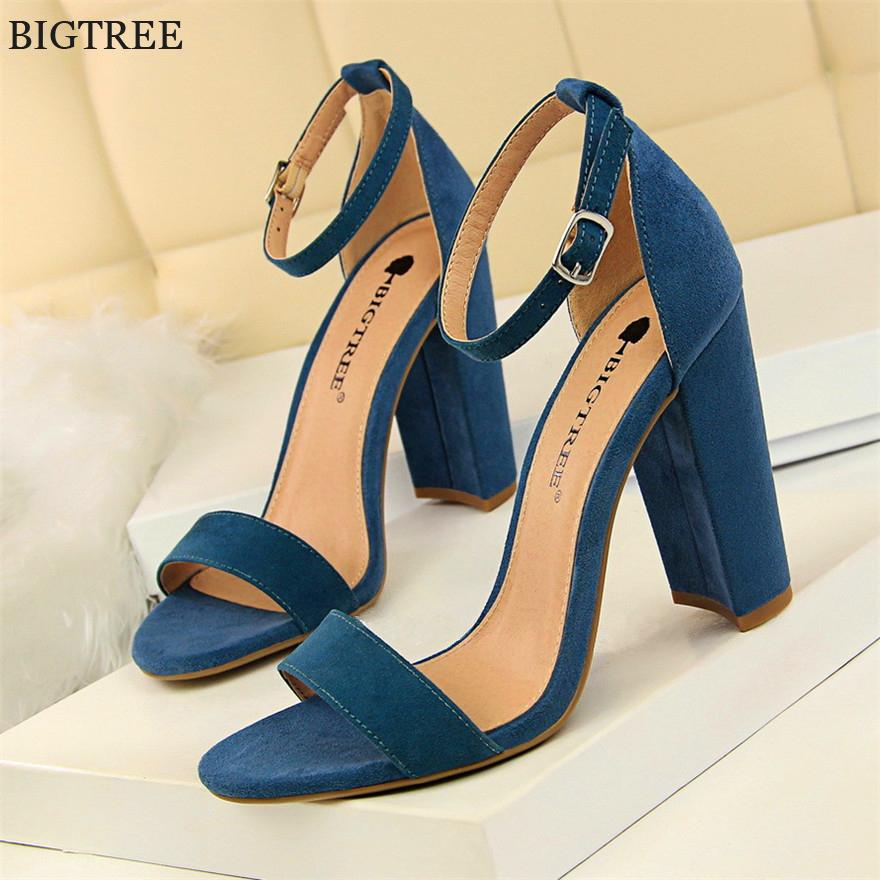 4a413c0757d7 BIGTREE Women High Heels Sandals 2018 New Concise Solid Flock PU Open Toe  Buckle Sexy Women S Party Sandal Summer Shoes Leather Shoes Moccasins For Men  From ...