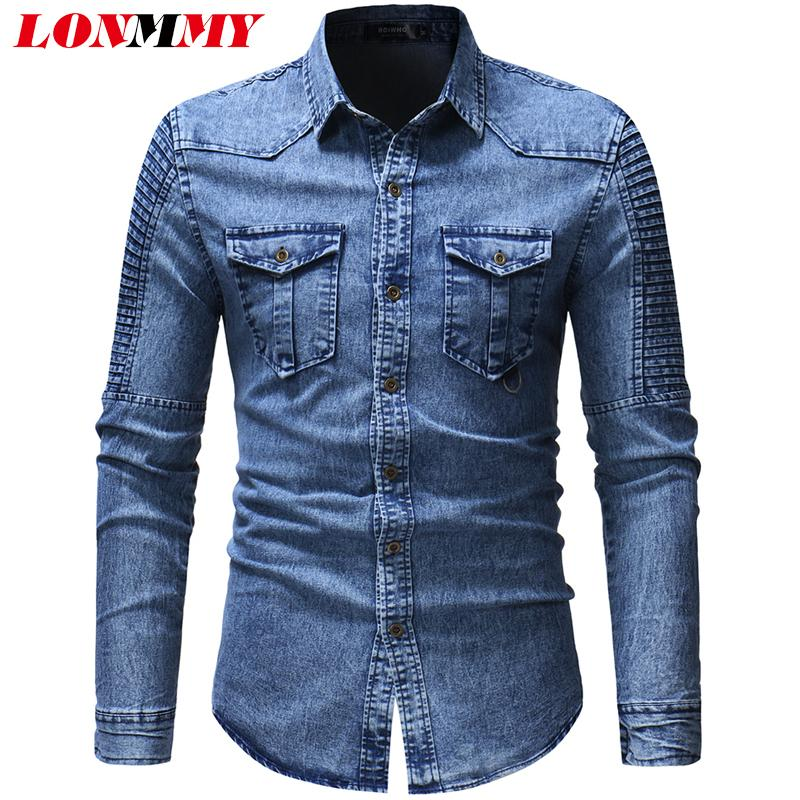 LONMMY Denim mens shirts casual slim fit camisa social Long sleeve Jeans shirt for male clothing 2018 Blouse men blusas grayMX190829