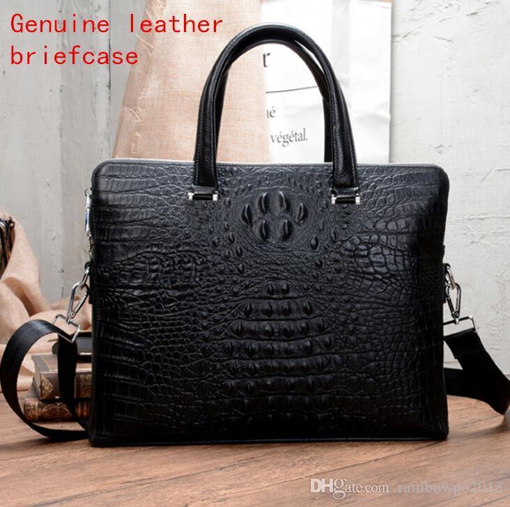 nouveau produit 7bd7b 512a8 Usine auto-propre marque mâle sac luxe 3D en cuir de crocodile d'affaires  serviette mode buffalo hommes tendance sac à bandoulière crocodile