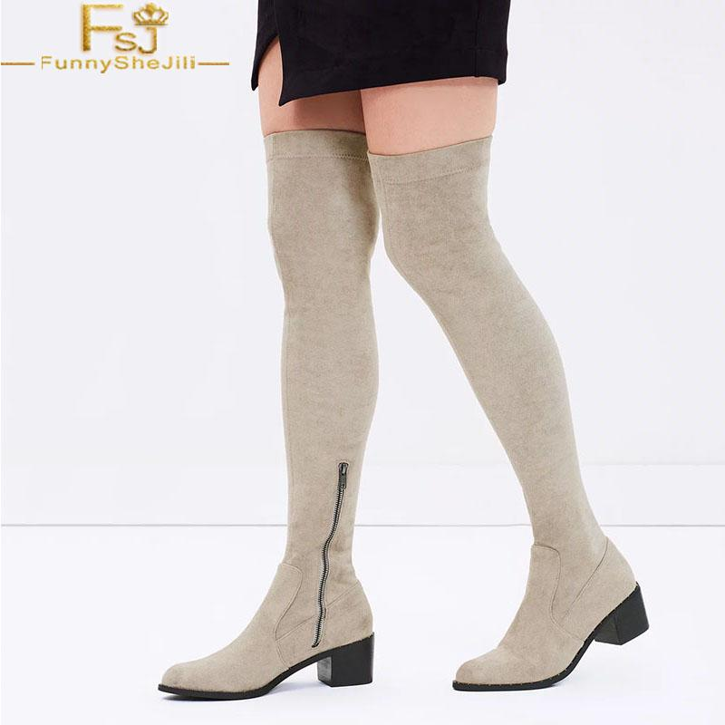 5397cd2142c FSJ Handmade Womens Fashion 2019 Slim Fit Med Chunky Heels Round Toe Over  Knee High Boots Zipper Dress Casual Shoes Size 33 46 Footwear Fringe Boots  From ...
