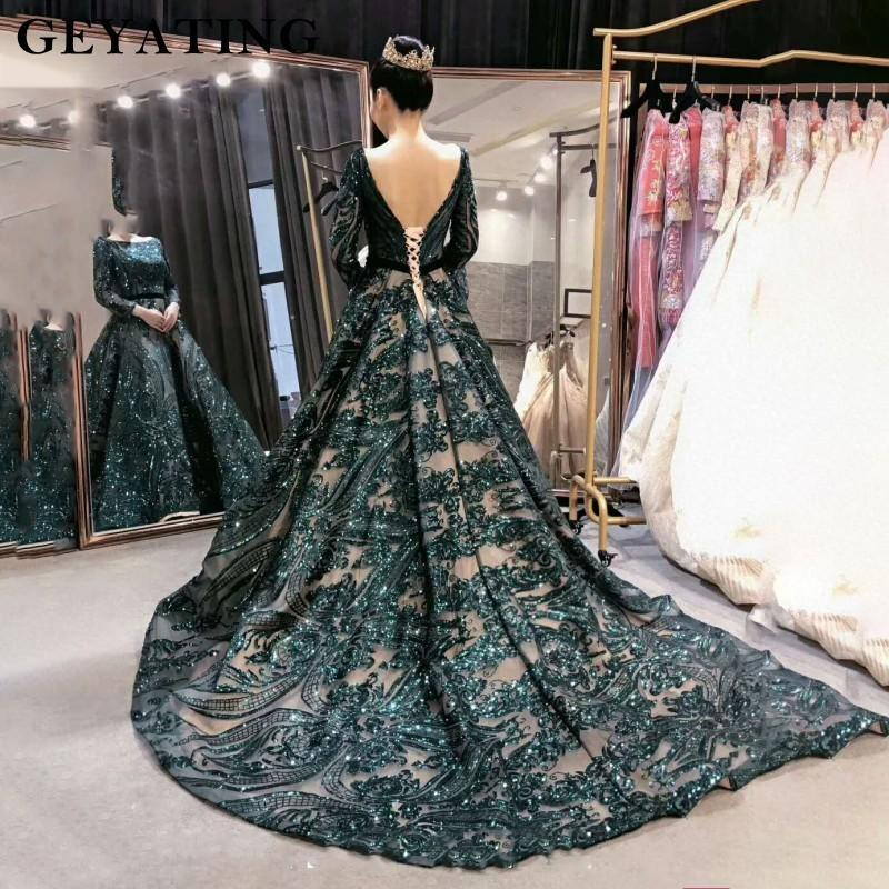 e9726c42dc2ab 2019 Emerald Green Sequined Long Sleeves Evening Dress 2019 Saudi Arabic  Muslim Women Formal Gowns Dubai Kaftan Vestidos De Festa Y19042701 From  Huang01, ...