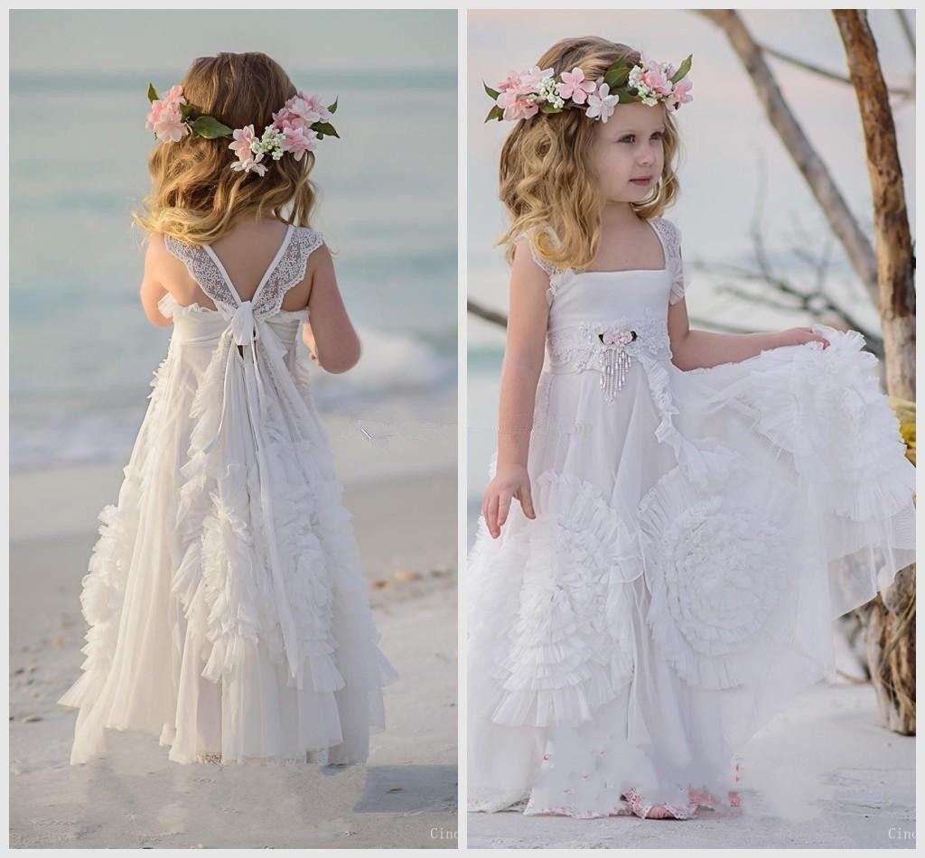 Flower Girl Gowns: 2019 Bohemian Flower Girls Dresses A Line Pleats Appliques