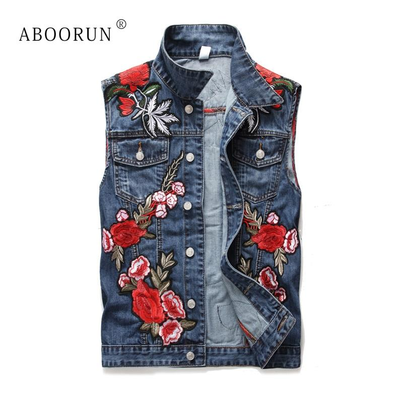ABOORUN Fashion Mens Denim Vest High Quality Rose Embroidery Patchwork Slim Jeans Waistcoat Male Sleeveless Jackets YC1186