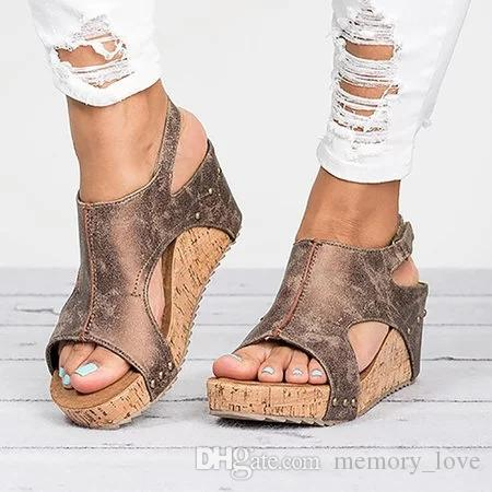 e15fa08c9bfb Peep Toe Sandals Wholesale Peep Toe PU Blocking Hook Loop Wedge Sandals  Casual Summer Sandals For Women Heeled Sandals Boys Sandals From  Memory love