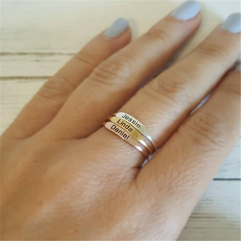 fb5c0d1629de3 Delicate Personalized Stackable Ring Custom Engraved Initial Date  Coordinates Name Rings For Lover Best Friend Memorial Jewelry