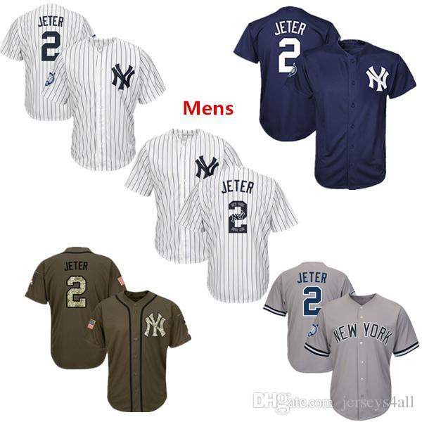 2019 Mens New York Yankees Baseball Jerseys 2 Derek Jeter Jersey Navy Blue  White Gray Grey Green Salute Team Logo From Jerseys4all e62830cb85f