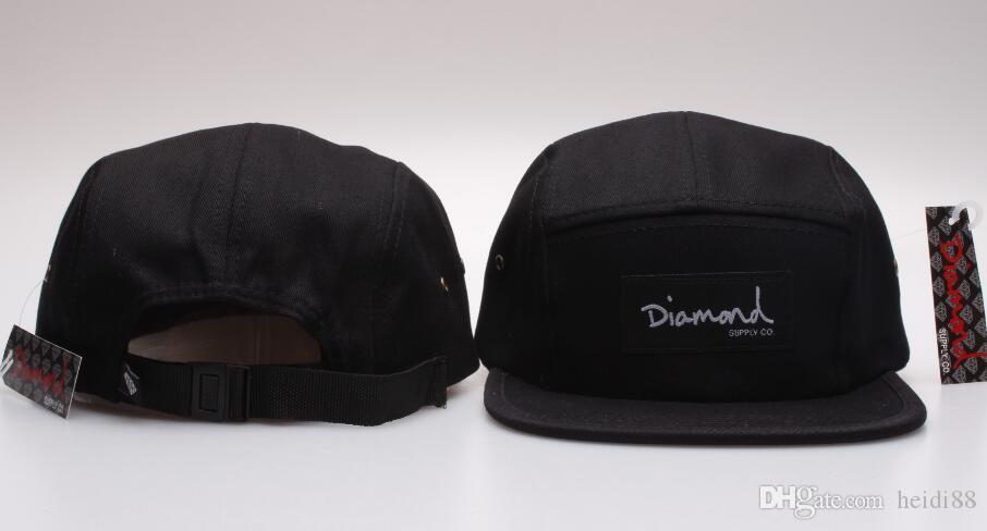 Compre Preto 5 Painel De Diamante Ajustável 5 Painéis Snapback Strapback  Marca De Alta Qualidade Chapéus Hiphop Moda Osso Snapback fbd80e819a7