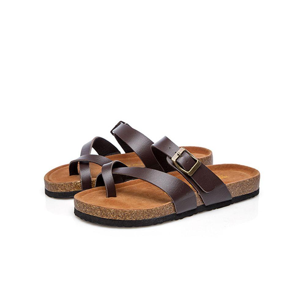 Casual Feminine Spongy Buckle T Strap Wood Sole Slipper Lady Beach Shoes Flip Flops Slip On Sandals Zoris Slides