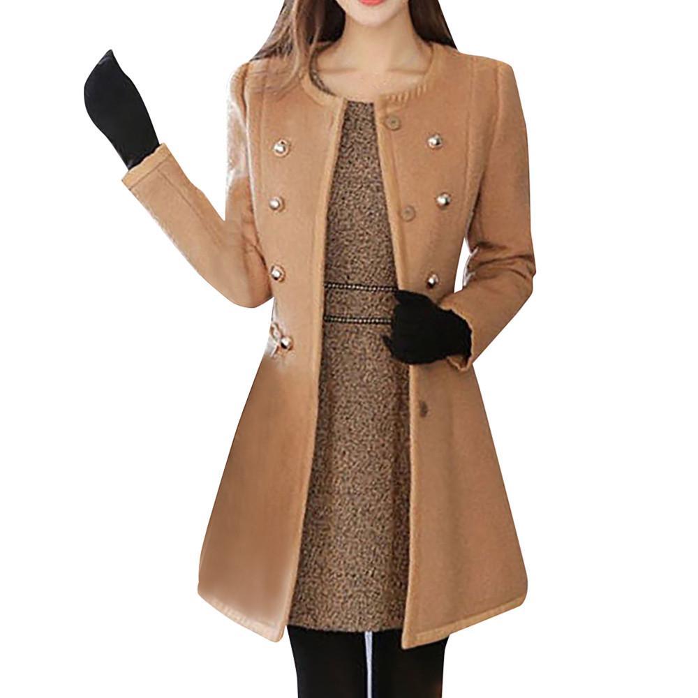 3b3b8ed73 2019 Elegant Ladies Winter Woollen Coat Fashion Women Warm Outwear ...