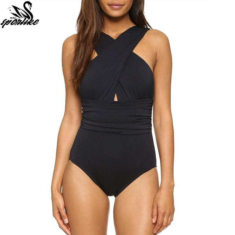 Sexy Cross Halter Swimwear One Piece Swimsuit Black Red Solid Women Bathing Suits Beach Wear Swim Q190525