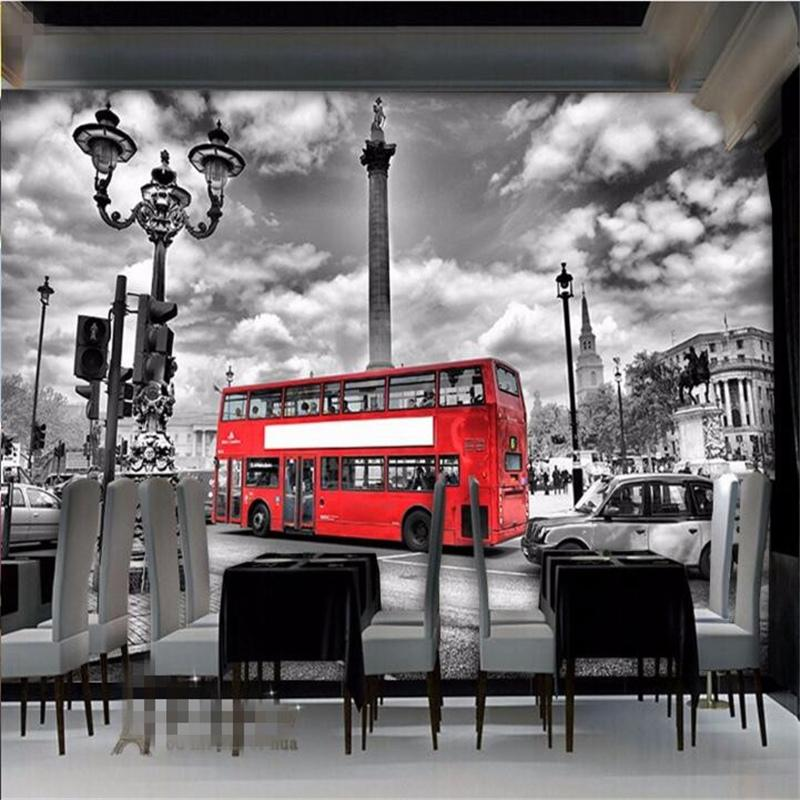 Beibehang papel de parede Continental red London bus large custom wallpaper dining sitting room TV photos hd 3d wallpaper murals