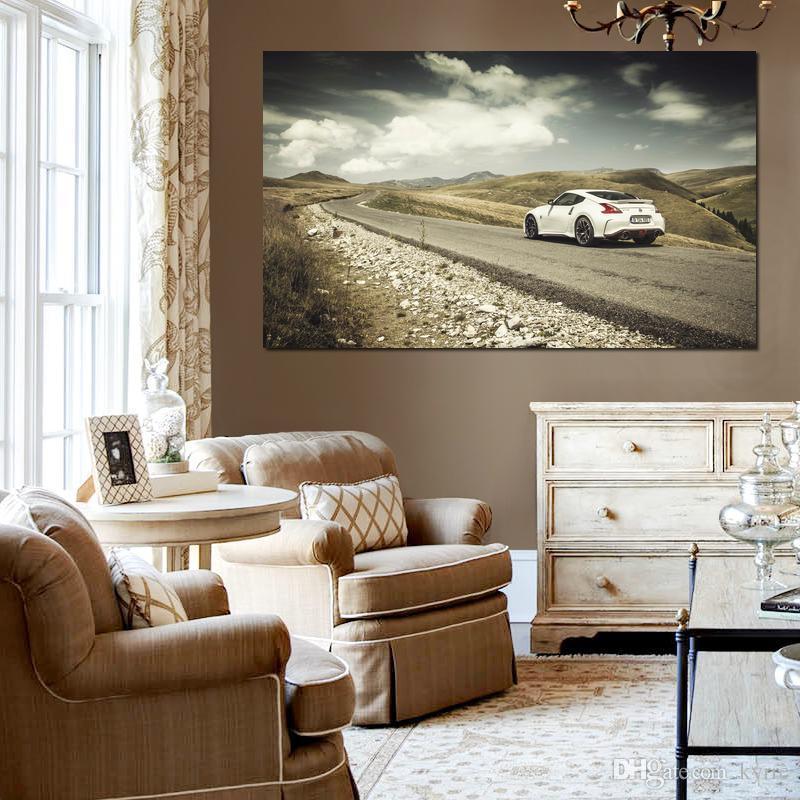 Oturma odası dekorasyonu için tuval baskılar boyama nissan yol beyaz