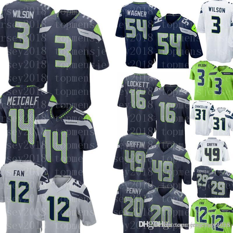 info for e300d 383e3 Seattle Seahawks Jersey 3 Russell Wilson 14 DK Metcalf 49 Shaquem Griffin  16 Tyler Lockett 54 Bobby Wagner 31 Chancellor Football Jerseys