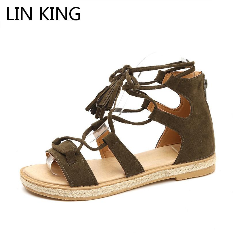 f693a0534 LIN KING Vintage Women Gladiator Sandals Fashion Zipper Street Footwear  Summer Flats Shoes Rome Tassel Anti Slip Beach Shoes Sandles Wedge Booties  From ...