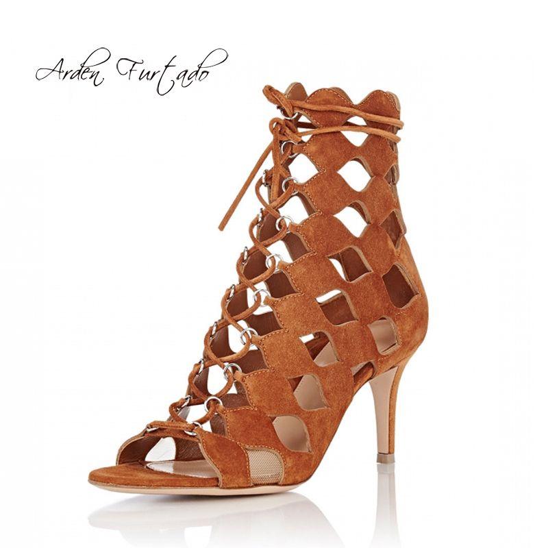 D Bottes Talons Hot Style Mode 2019 Sandales Peep Gladiateur De Croix Été Stilettos Toe Chaussures Creux Femmes Dames Attaché BWQdoerCx