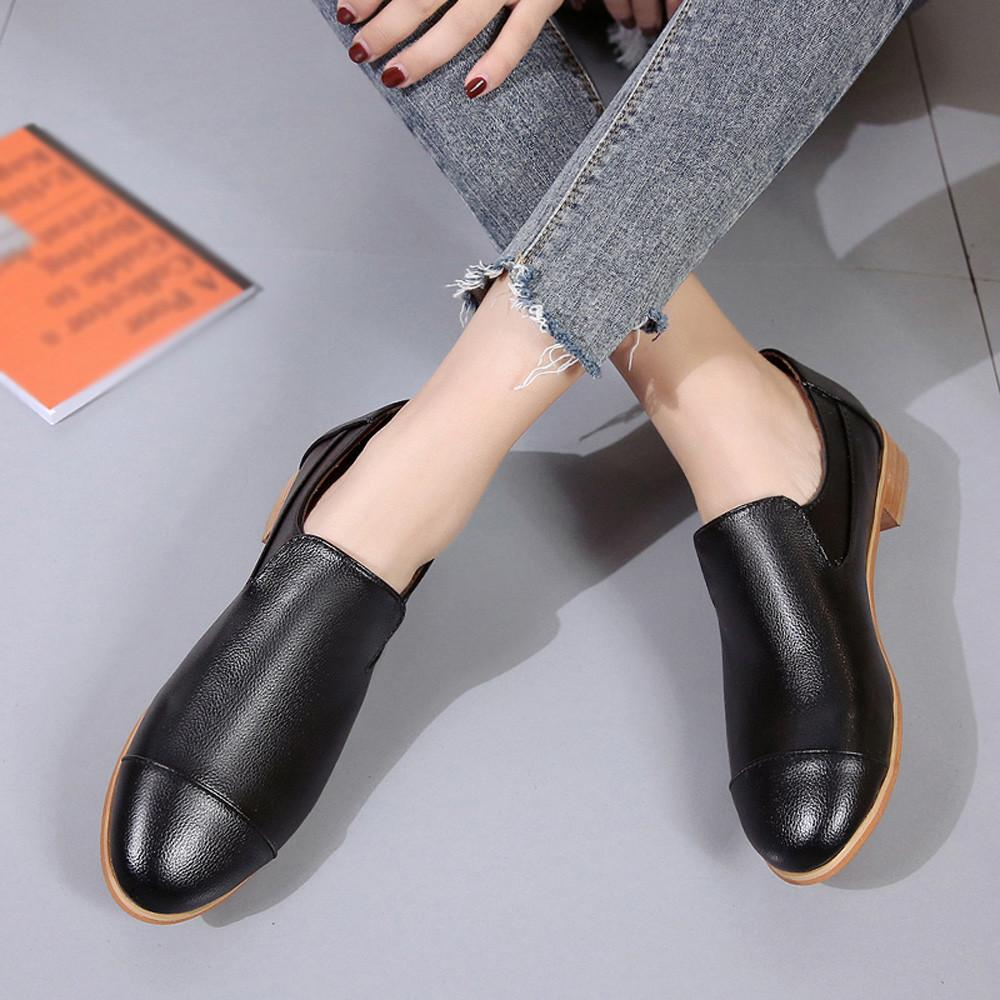 ab1d47f3a88f YOUYEDIAN Pumps Women Shoes 2019 Leather Shallow Slip On Square Heel Single  Shoes Women Pump Zapatos Mujer Tacon