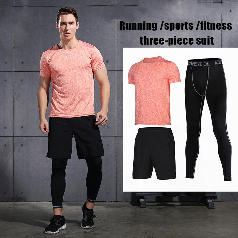 4f01619c6b6 2019 Gym Running Sets Men s Fitness Compression Tights Sportswear ...